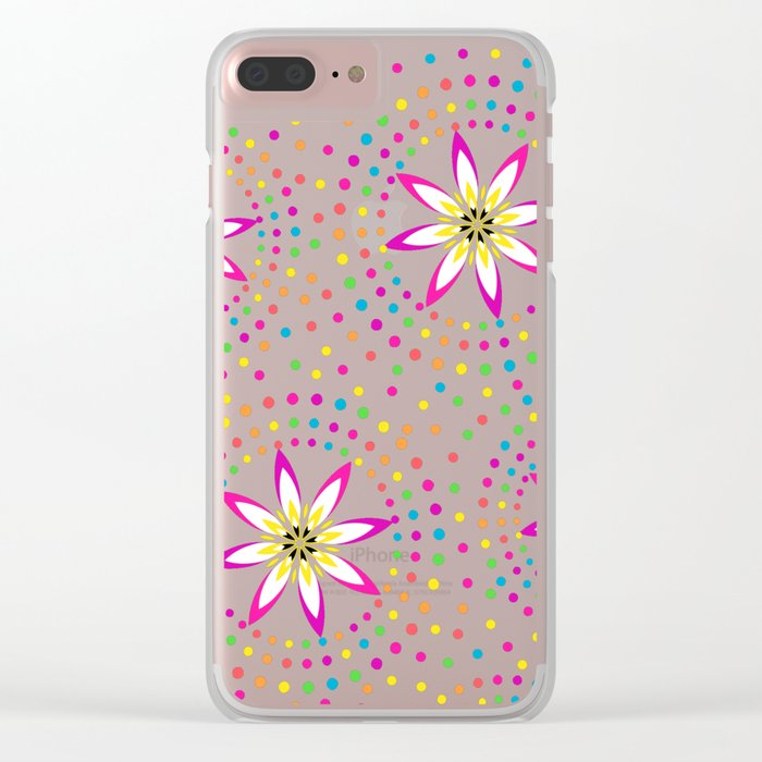 Floral Colorful Circles Clear iPhone Case