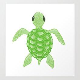 Cute Green Sea Turtle Art Print