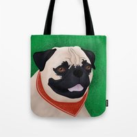 pug Tote Bags featuring Pug by Nir P