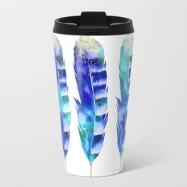 Blue Turquoise Watercolor Feather Art Travel Mug