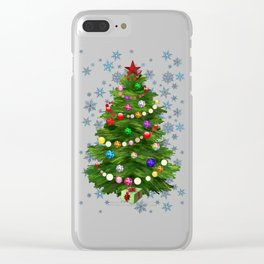 Christmas tree & snow v.2 Clear iPhone Case