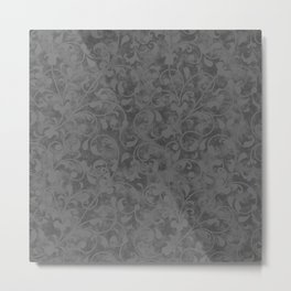 Modern Farmhouse Gray Damask Print Flower Vine on Weathered Background Metal Print