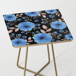 Blue flowers with black Side Table