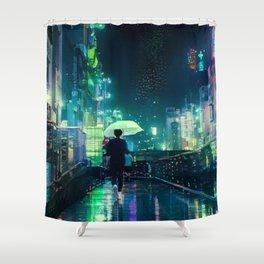 Rainy Tokyo At Night Shower Curtain