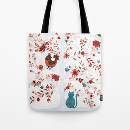 Nina the cat and the chicken Tote Bag