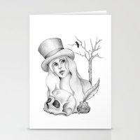 edgar allan poe Stationery Cards featuring Mrs. Edgar Allan Poe by Rene Robinson