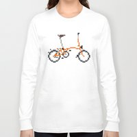 brompton Long Sleeve T-shirts featuring Pixel Art Brompton bicycle - Orange by PixelArtM
