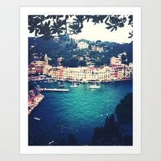 A vintage day in Portofino Art Print