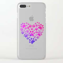 Animal Paws Heart print For Dog Lovers Clear iPhone Case