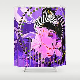 Zebras and Flowers Shower Curtain