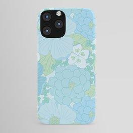 Light Blue Pastel Vintage Floral Pattern iPhone Case