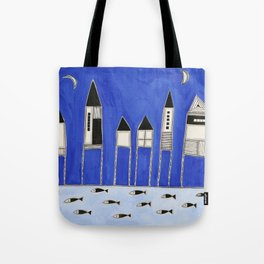 Tiny houses and fish in blue Tote Bag