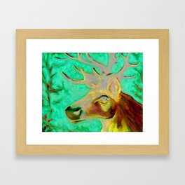 Caribou Print from Original Canvas Painting Framed Art Print