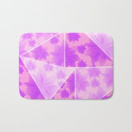 Magic flower garden. Delicate blooming bright pink spring flowers design. Lovely glamorous floral and geometrical design. Abstract geometric triangle shapes. Bath Mat