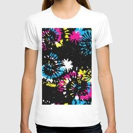 Splash Brush CMYK Colorful Shibori Tie Dye T-shirt