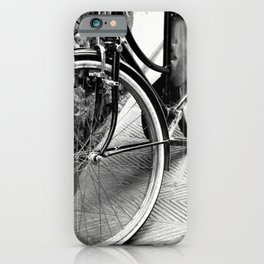 Bike Detail Photography Black and White Firenze Street Italy Europe iPhone Case