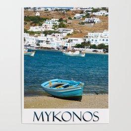 Blue Boat on Mykonos Island Greece Poster