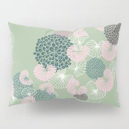 Floral Seamless Pattern on Green Pillow Sham