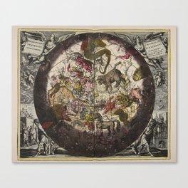 Keller's Harmonia Macrocosmica - Northern Celestial and Terrestrial Hemispheres 1708 Canvas Print