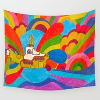 submarine Wall Tapestries featuring Yellow Submarine by Jaime Viens