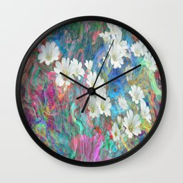 White Flowers Among Flowing Colors By Annie Zeno  Wall Clock