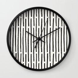 Distressed Hand Drawn Stripe Pattern Wall Clock