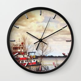 Barge on the Mississippi Wall Clock