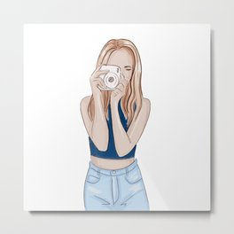 Girl photographer Metal Print