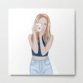 Girl photographer Metal Print