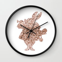Sparkling rose gold Mr Rabbit Wall Clock