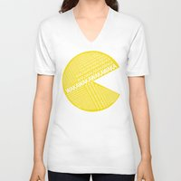 pac man V-neck T-shirts featuring Pac-Man Typography by Kody Christian