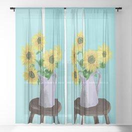 Sunflowers on Blues Sheer Curtain