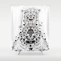 crab Shower Curtains featuring Crab Man by Cosmic Nuggets
