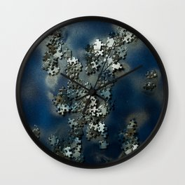 Puzzles on blue Wall Clock