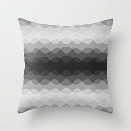 Overlapping Wavy Horizontal Lines Light Gray Mid-tone Gray & Dark Gray Pattern Throw Pillow