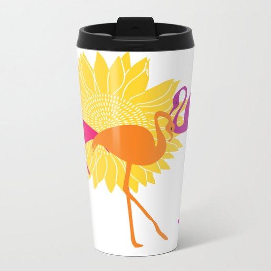 Colorful Flamingos Metal Travel Mug