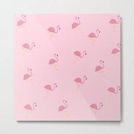 Pink Flamingo Print Wall Art Metal Print