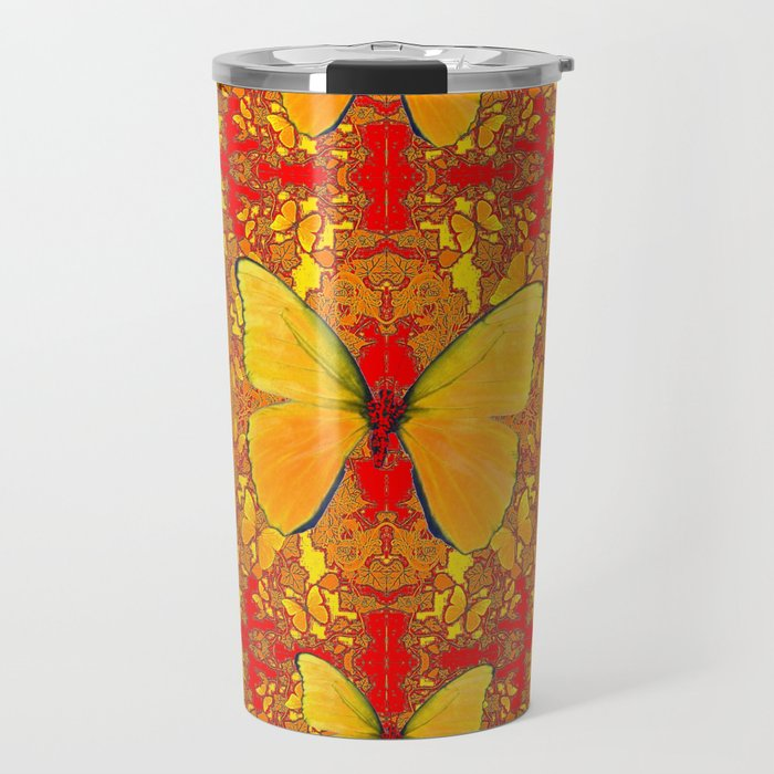 GOLDEN YELLOW BUTTERFLIES RED PATTERN ABSTRACT Travel Mug
