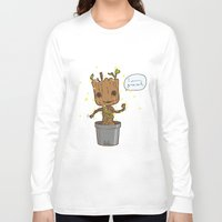groot Long Sleeve T-shirts featuring Groot by Lalu