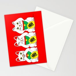 Three Wise Lucky Cats on Red Stationery Cards