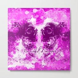 Beautiful Disaster Screaming Skulls in Pink Metal Print