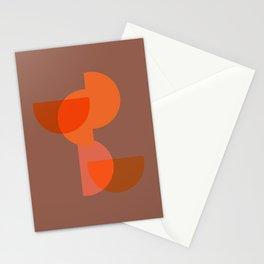 Overlapped Mid Century Half Circles Orange Stationery Cards