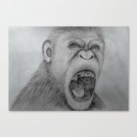 planet of the apes Canvas Prints featuring Planet of the Apes Pencil Drawing by Lucas Lepski
