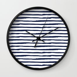 Navy Blue Stripes on White Wall Clock