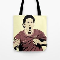 messi Tote Bags featuring Messi by Renan Lacerda
