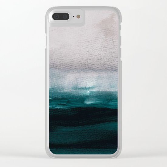 pale pink over dark teal Clear iPhone Case
