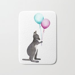 Wallaby With Balloons Bath Mat