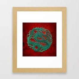 Wooden Jade Dragon Carving on Red Background Framed Art Print