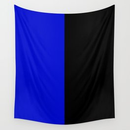 Psychedelic black and blue stripes V. Wall Tapestry