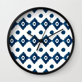 Abstract navy blue watercolor geometrical pattern Wall Clock